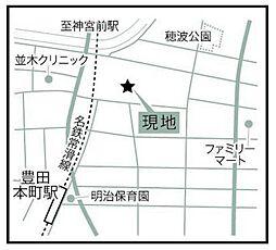 現地案内地図。周辺に商業施設多数の好立地。