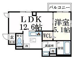 JR東海道・山陽本線 甲南山手駅 徒歩5分の賃貸アパート 1階1LDKの間取り