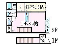 コンフォート青山 A棟 2階1DKの間取り