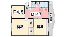 兵庫県姫路市香寺町溝口の賃貸マンションの間取り