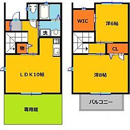 JR東北本線 雀宮駅 徒歩26分の賃貸テラスハウス 1階2LDKの間取り