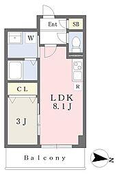 東武伊勢崎線 竹ノ塚駅 徒歩18分の賃貸マンション 2階1LDKの間取り