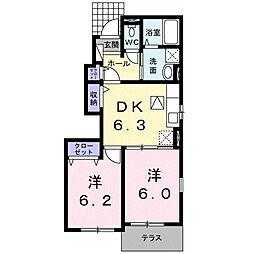 西鉄甘木線 古賀茶屋駅 徒歩20分の賃貸アパート 1階1LDKの間取り