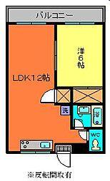 茨城県古河市鴻巣の賃貸アパートの間取り