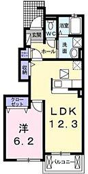 西武池袋線 ひばりヶ丘駅 徒歩29分の賃貸アパート 1階1LDKの間取り