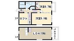[テラスハウス] 愛知県名古屋市名東区神丘町1丁目 の賃貸【/】の間取り