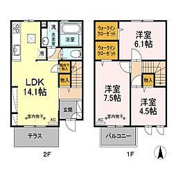 [テラスハウス] 東京都国立市西1丁目 の賃貸【/】の間取り