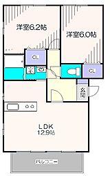 東京都東大和市南街2丁目の賃貸アパートの間取り