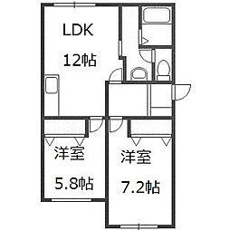 北海道札幌市豊平区美園五条6丁目の賃貸マンションの間取り
