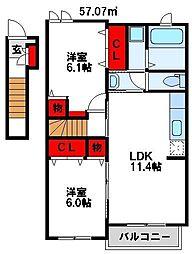 福岡県遠賀郡水巻町猪熊3丁目の賃貸アパートの間取り