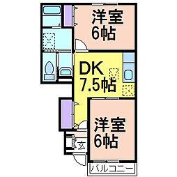 栃木県鹿沼市泉町の賃貸アパートの間取り