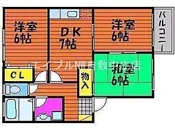 岡山県岡山市北区東花尻丁目なしの賃貸アパートの間取り