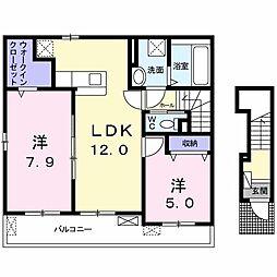 プロムナードメゾン弐番館 D 2階2LDKの間取り