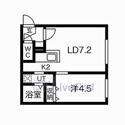 札幌市営東西線 菊水駅 徒歩6分の賃貸マンション 4階1LDKの間取り