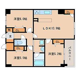 奈良県奈良市三条大宮町の賃貸マンションの間取り