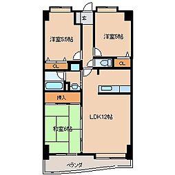 パークレーン六ツ門[5階]の間取り