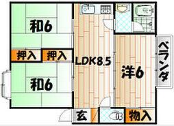 福岡県北九州市小倉南区蜷田若園3丁目の賃貸アパートの間取り