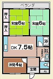 報徳ハイツ3階Fの間取り画像