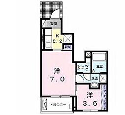 小田急多摩線 五月台駅 徒歩4分の賃貸アパート 1階1SKの間取り