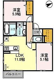 ディールームフジ[2階]の間取り