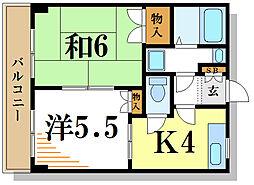 都営新宿線 一之江駅 徒歩10分の賃貸マンション 2階2Kの間取り