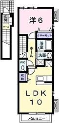 兵庫県姫路市広畑区長町2丁目の賃貸アパートの間取り