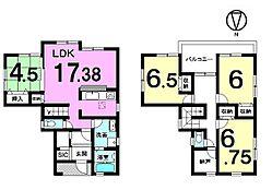 LDK和室で約22帖の大きなお部屋になりました。2階の納戸は大きなお荷物の整理に役立ちます。角地の物件です。