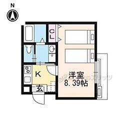 近鉄京都線 東寺駅 徒歩5分の賃貸マンション 2階1Kの間取り