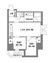 東京メトロ日比谷線 仲御徒町駅 徒歩3分の賃貸マンション 2階2LDKの間取り