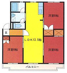 埼玉県さいたま市緑区三室の賃貸マンションの間取り