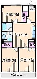神奈川県横浜市港北区高田東1丁目の賃貸マンションの間取り