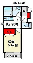 メゾンクレール南福岡 3階1Kの間取り