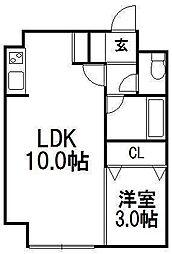 Rilassa麻生 3階1LDKの間取り