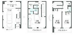 [テラスハウス] 愛知県名古屋市北区喜惣治1丁目 の賃貸【/】の間取り