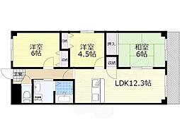 阪急千里線 南千里駅 徒歩16分の賃貸マンション 6階2SLDKの間取り