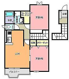 茨城県常陸太田市寿町の賃貸アパートの間取り