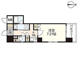JR山陽本線 広島駅 徒歩21分の賃貸マンション 7階1Kの間取り