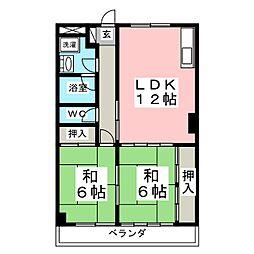 プレステージ黒松[4階]の間取り