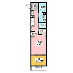 シャーメゾン・ガーレ 1階1LDKの間取り
