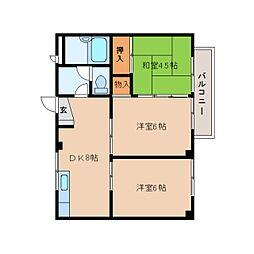 静岡県静岡市清水区西久保の賃貸アパートの間取り