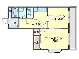 ウッディRONE[4階]の間取り