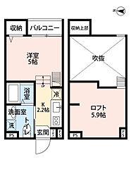 南海高野線 萩原天神駅 徒歩5分の賃貸アパート 2階1Kの間取り