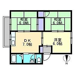 ファミリーハウス北畝[B101号室]の間取り