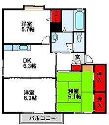 福岡県遠賀郡水巻町猪熊5丁目の賃貸アパートの間取り
