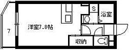 M'z鴨池II 2階ワンルームの間取り