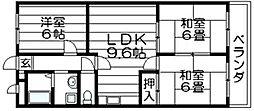大阪府東大阪市島之内2丁目の賃貸マンションの間取り