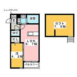 西鉄天神大牟田線 西鉄二日市駅 徒歩5分の賃貸アパート 1階1LDKの間取り