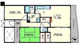 ラフィーネ千里[4階]の間取り