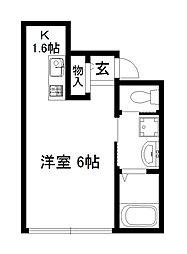 近鉄京都線 東寺駅 徒歩12分の賃貸アパート 1階ワンルームの間取り