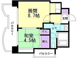 札幌ビオス館 13階1LDKの間取り
